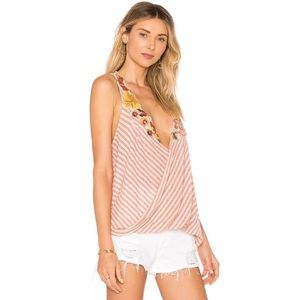 NWT FREE PEOPLE Neutral Floral Frida Tank Top L